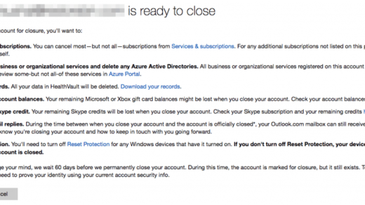 Microsoft Account Closure Confirmation