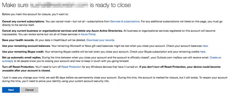 Microsoft Account Closure Confirmation
