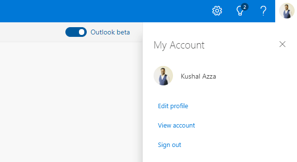 Microsoft Outlook Sign out link