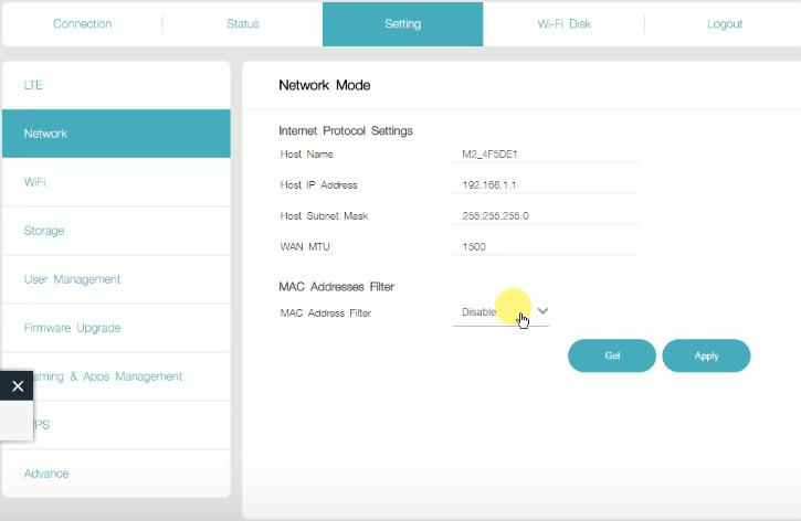 Network Mode by Default in JioFi Admin Settings Panel