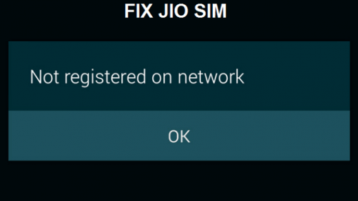 Not Registered on Network Jio