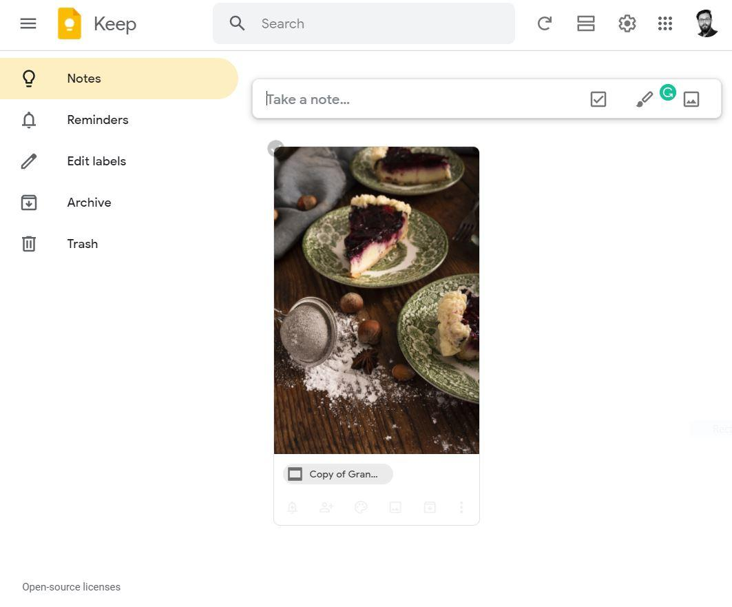 Now, open Google Keep, and the copied images will be shown in your Google Keep