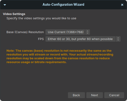 """OBS will detect the monitor resolution and apply the setting. Do not mess around with the default setting and click on """"Next"""" to make life easier"""