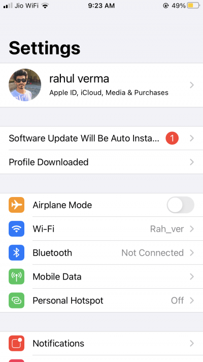 Once the profile is downloaded, it will be saved in your iPhone Settings app