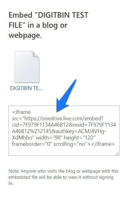 OneDrive Embed Link
