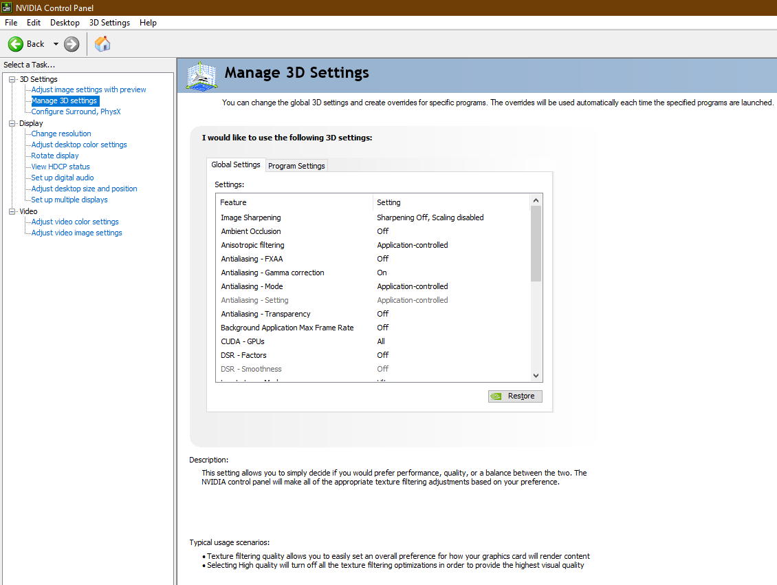 """Open """"Nvidia Control Panel"""" and click on """"Manage 3D Settings"""" to modify the settings"""