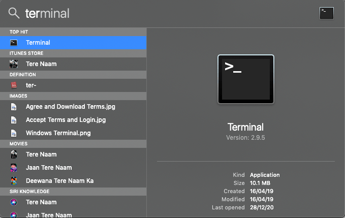 Open Terminal on Mac