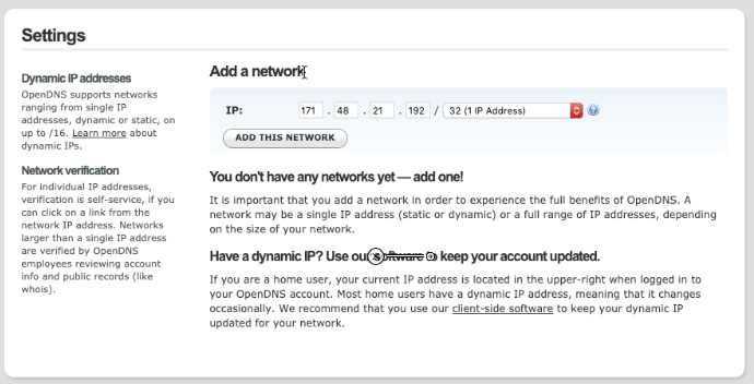OpenDNS Add Network IP Address