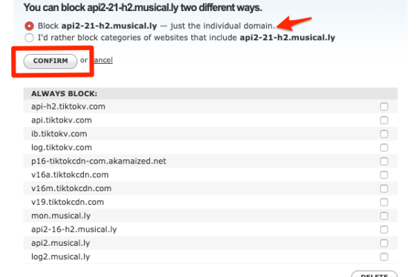 OpenDNS Dashboard > Settings > Web Content Filtering > Block Musically