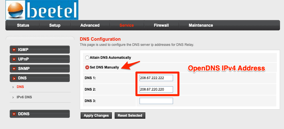 OpenDNS IPv4 Address in Network Router DNS Settings