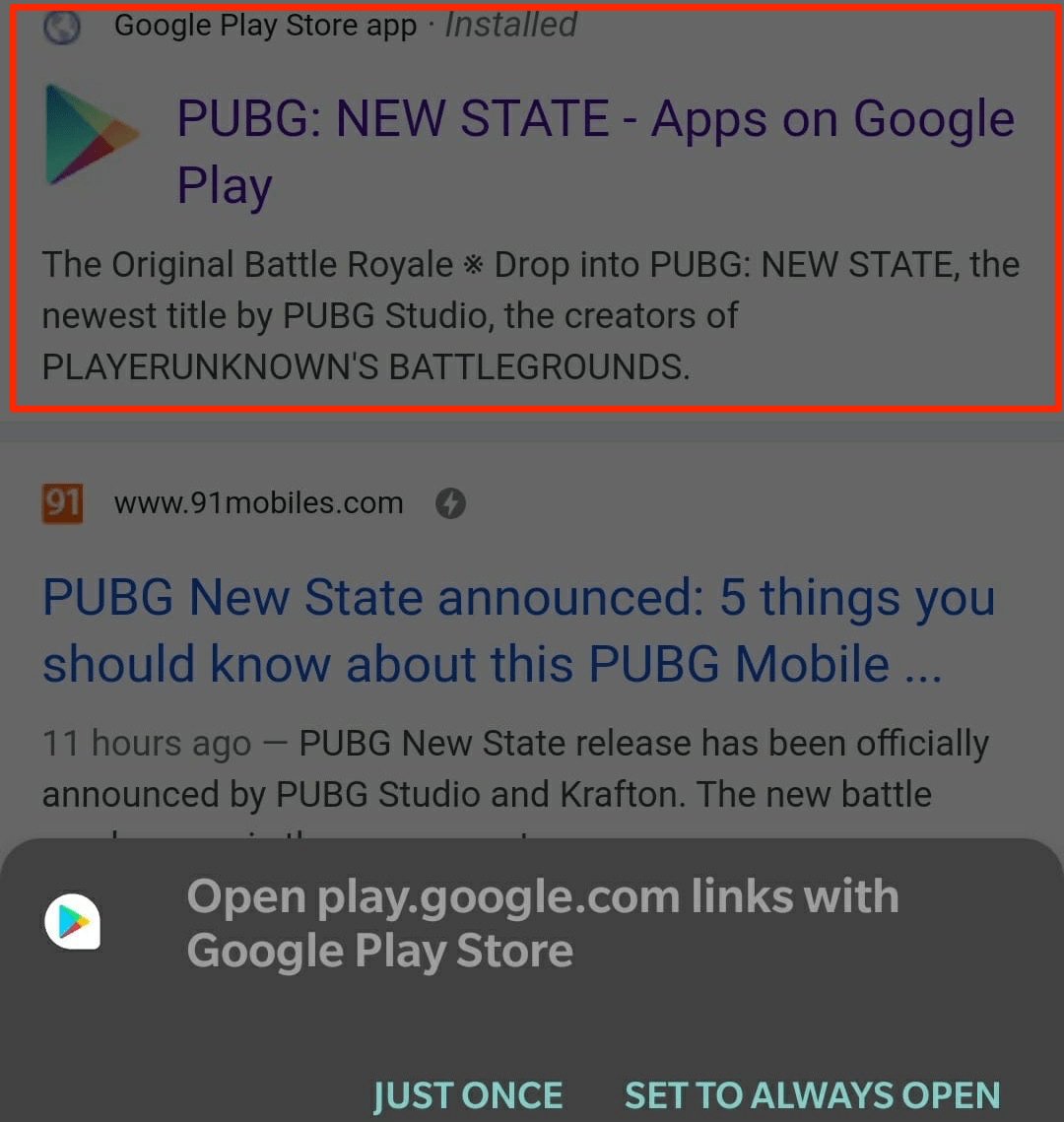 Open Game from Chrome in Play Store