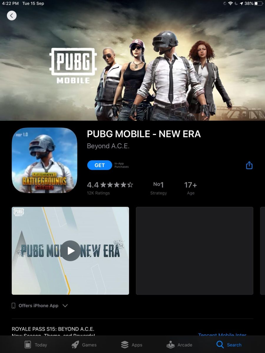 PUBG Mobile on iPad App Store in India