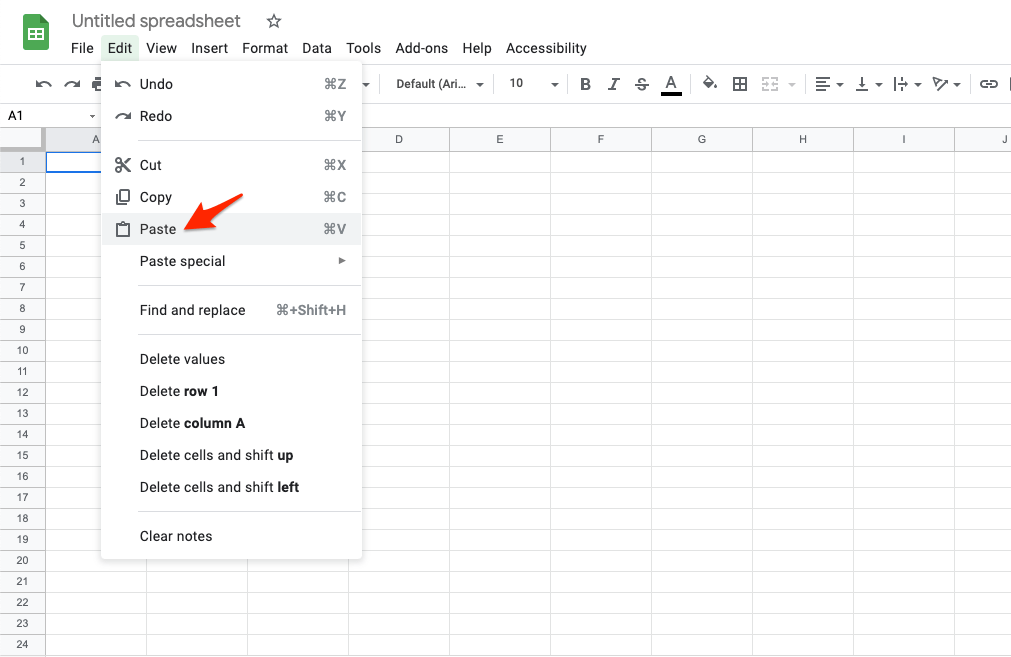 Paste the Copied Content in New Spreadsheet