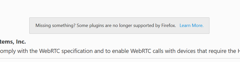 Plugins Not Supported in Firefox