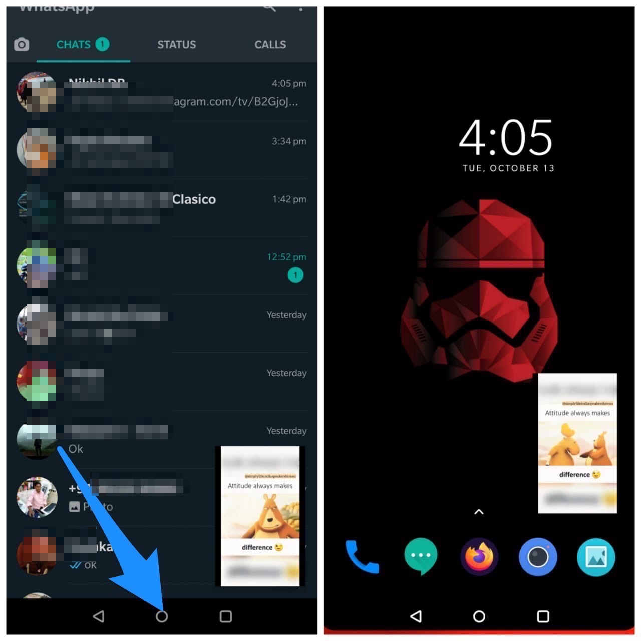 Press Home Button for PiP