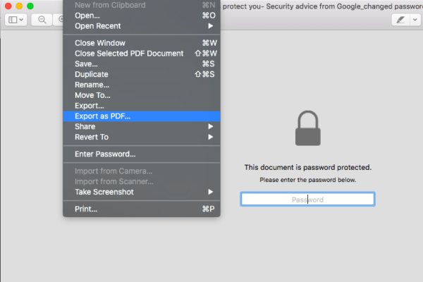 Preview File Export as PDF and Menubar to Change PDF Password