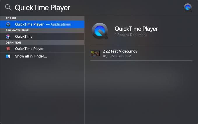 QuickTime Player in Spotlight