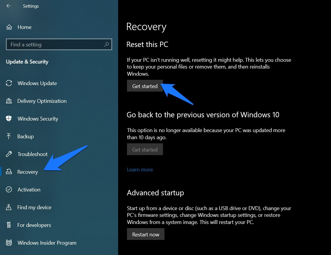 Recovery and reset PC