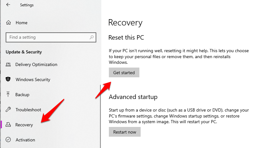 Recovery to Reset PC