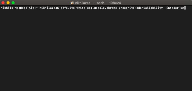 Remove Incognito on Chrome for Mac