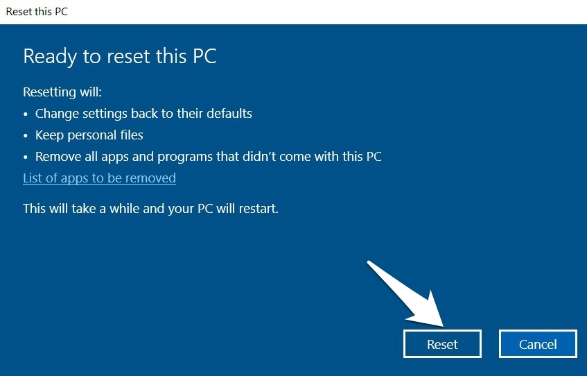 Reset the Settings to Default