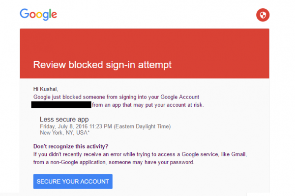 Review Blocked Sign-in attempt