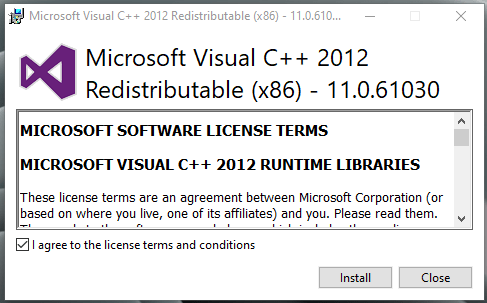 Run the Visual C++ 2012 Redistributable Package as administrator and install it