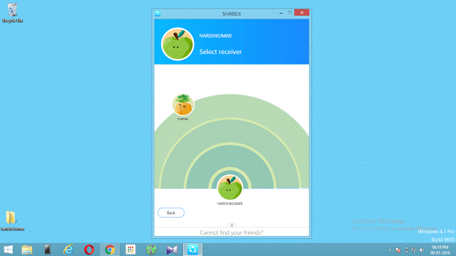 Screenshot of SHAREit app on PC showing receivers name. Click on it to begin the transfer.