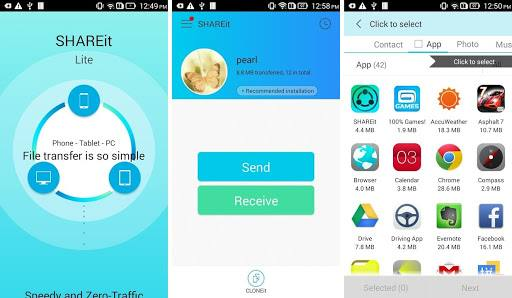 Screenshots of SHAREit app for Android smartphone showing send & receive option and apps & other media files which can be shared.