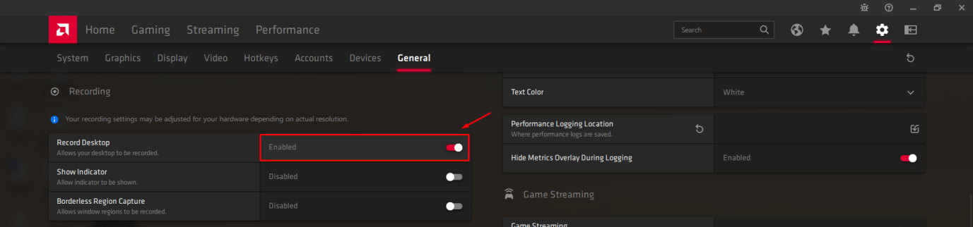 """Scroll down a little to find """"Recording"""" and then click on """"Record Desktop"""" to enable:disable it"""