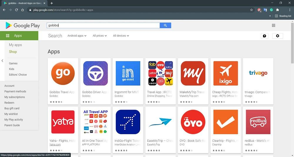 Search for App on Play Store Web