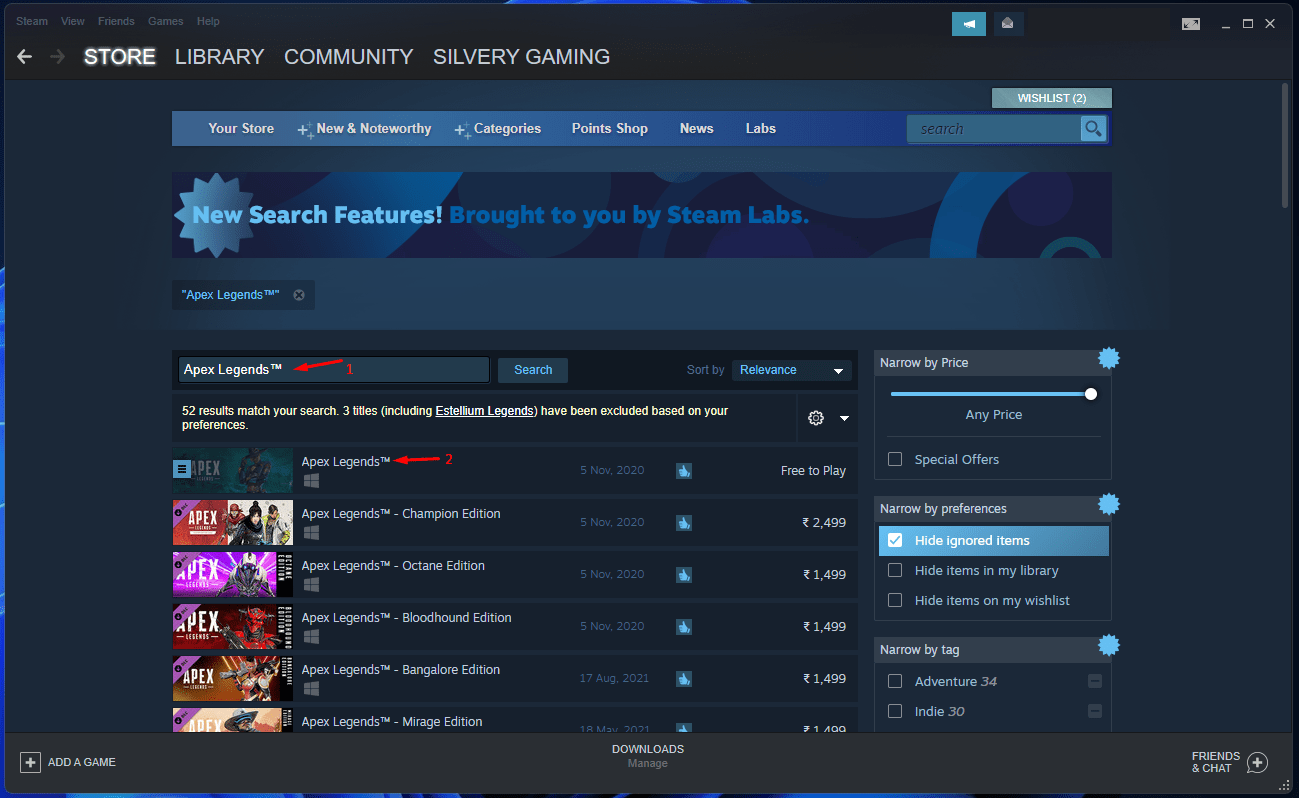 Search for the EA game available on Steam