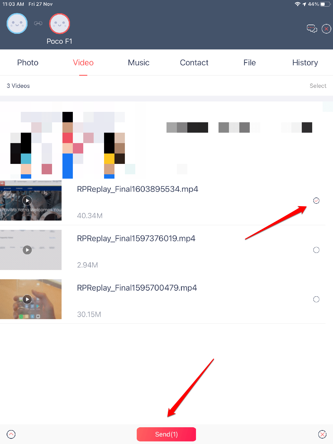 Select File on iPad and Click on Share Button