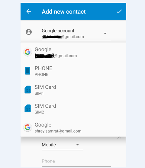 Select Google Account under More Fields and save the Contact