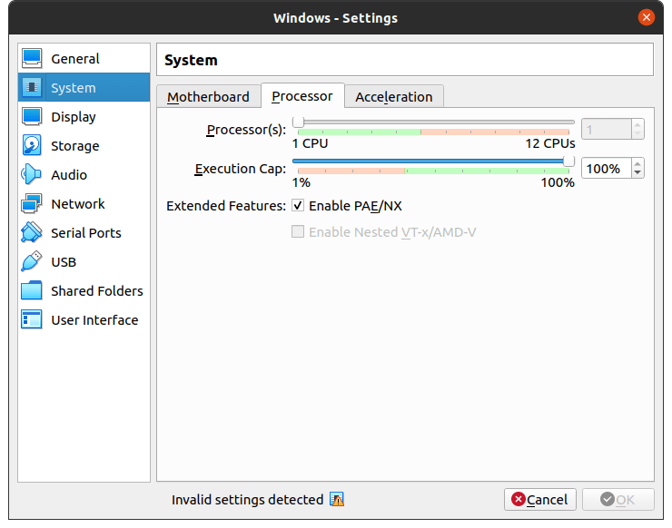 """Select """"System"""" and choose """"Processor"""" and change the processor count to 2-Cores"""