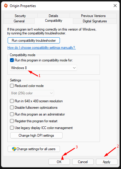 """Select Windows 8 and click on """"Apply"""", and then click on """"OK"""" to save the changes"""