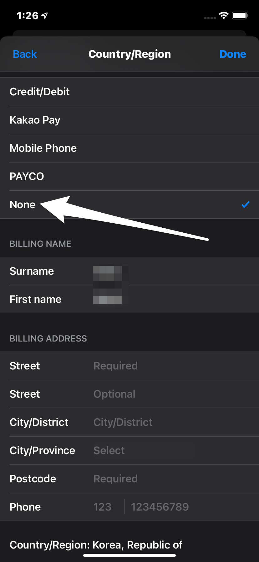 Select Payment None