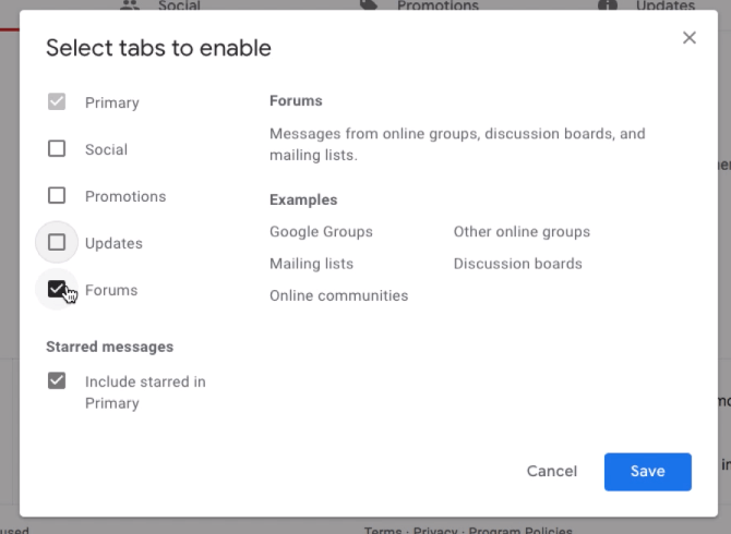 Select tabs to enable o hide the Gmail category