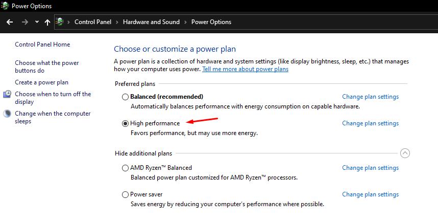 "Select the ""High Performance "" option"