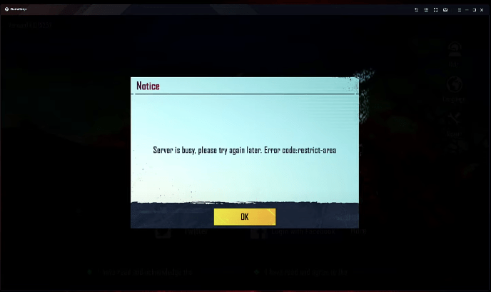Server is busy, please try again later. Error code: restrict-area bgmi gameloop