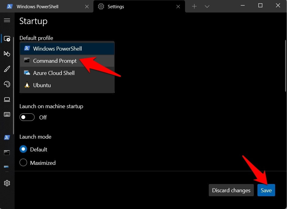 Set Command Prompt as Default in Windows 11 Terminal