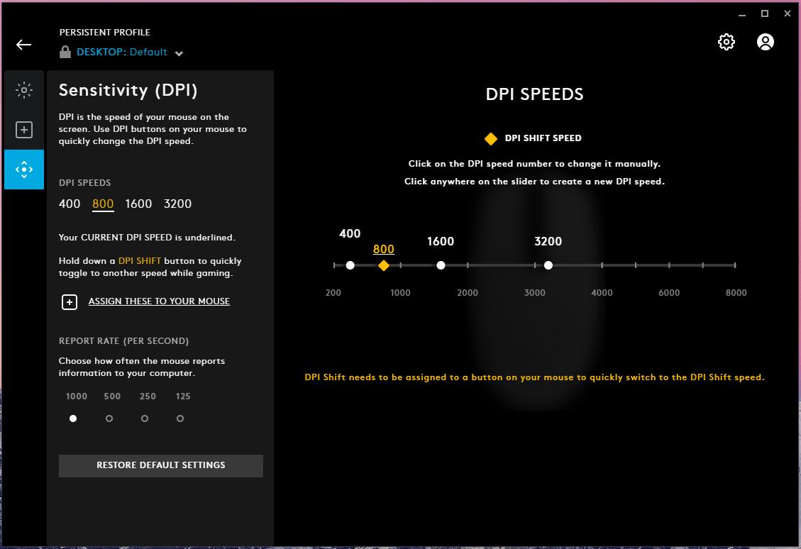 Set Sensitivity (DPI) in G Hub
