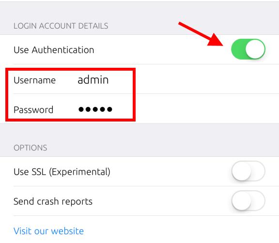 Set Up User Name & Password