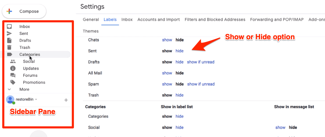 Show or Hide Labels and Category in Gmail