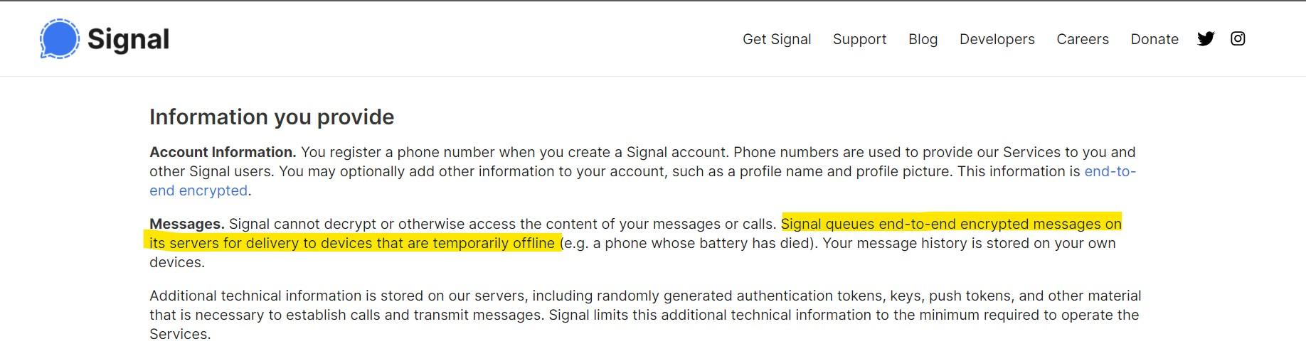 Signal Message Storage