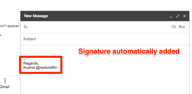 Signature automatically added in Gmail Compose