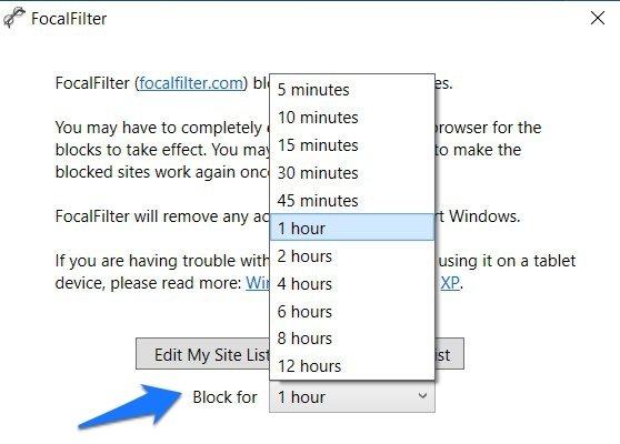 Specify Time Limit to Block the Site