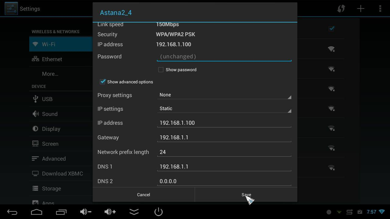 Static Setting in Android WiFi