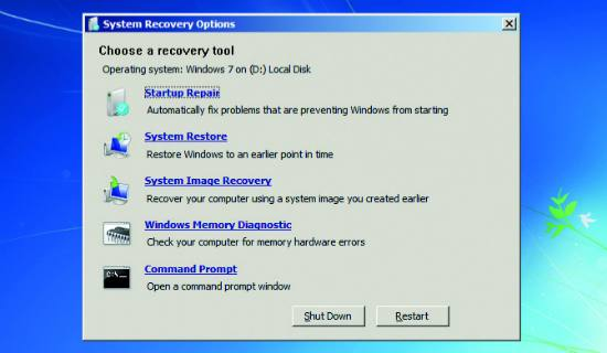 System Recovery Option (Can also use with Recovery Disc)