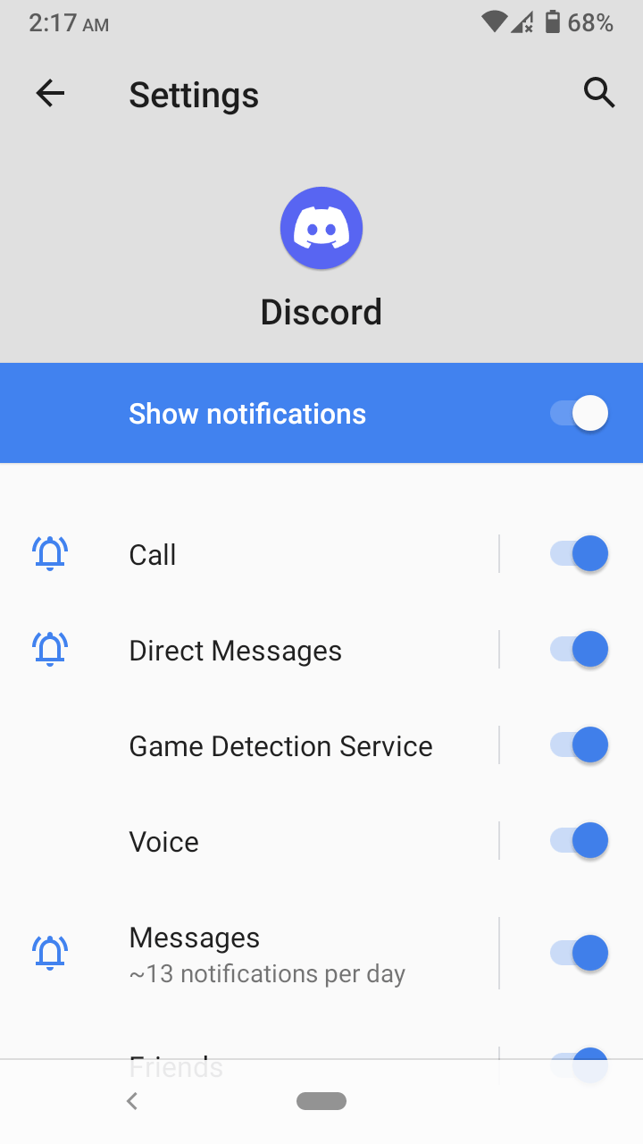 """Tap on """"Show notifications"""" to disable all notifications."""